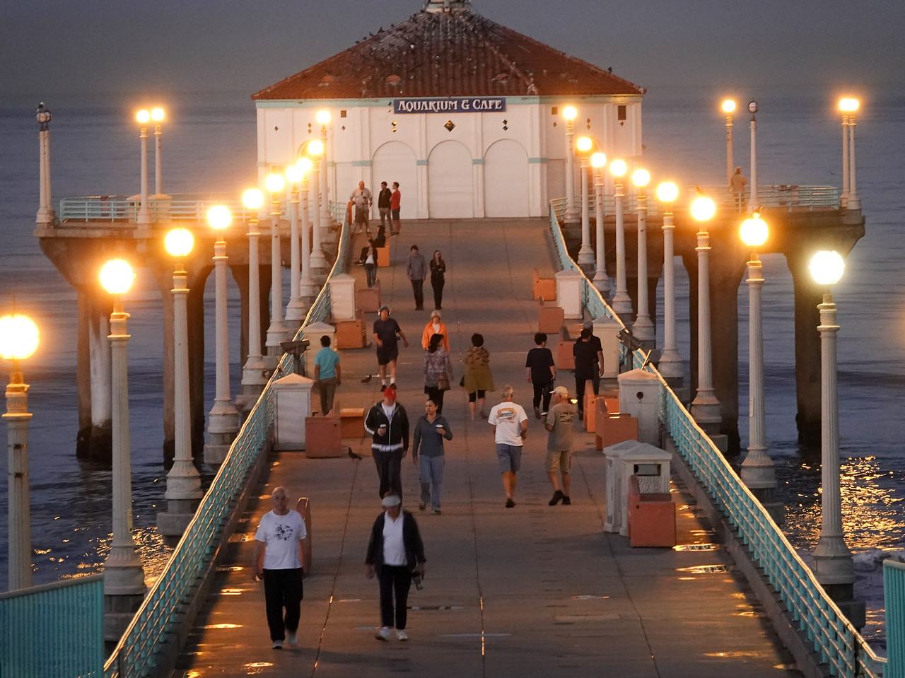 Even at 6:30 a.m., the Manhattan Beach Pier attracts a word