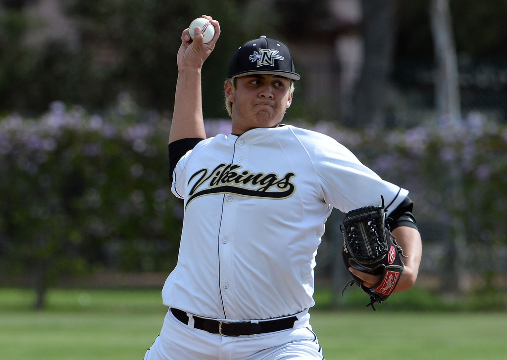 . Northview starting pitcher James Ramos throws to the plate against San Dimas in the first inning of a prep baseball game at Northview High School in Covina, Calif., on Wednesday, March 26, 2014. San Dimas won 2-0. (Keith Birmingham Pasadena Star-News)