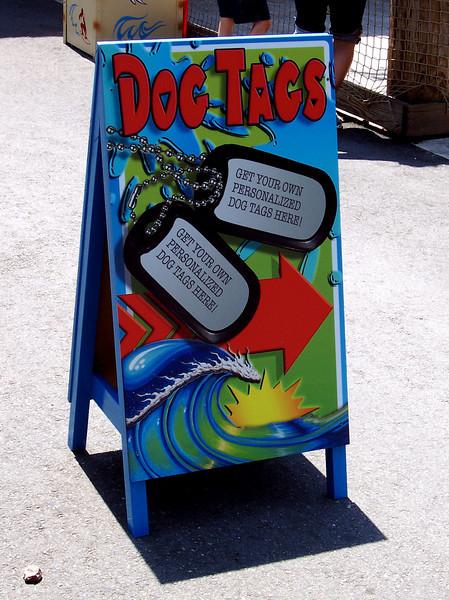 Rad Tags dog tag signboard.
