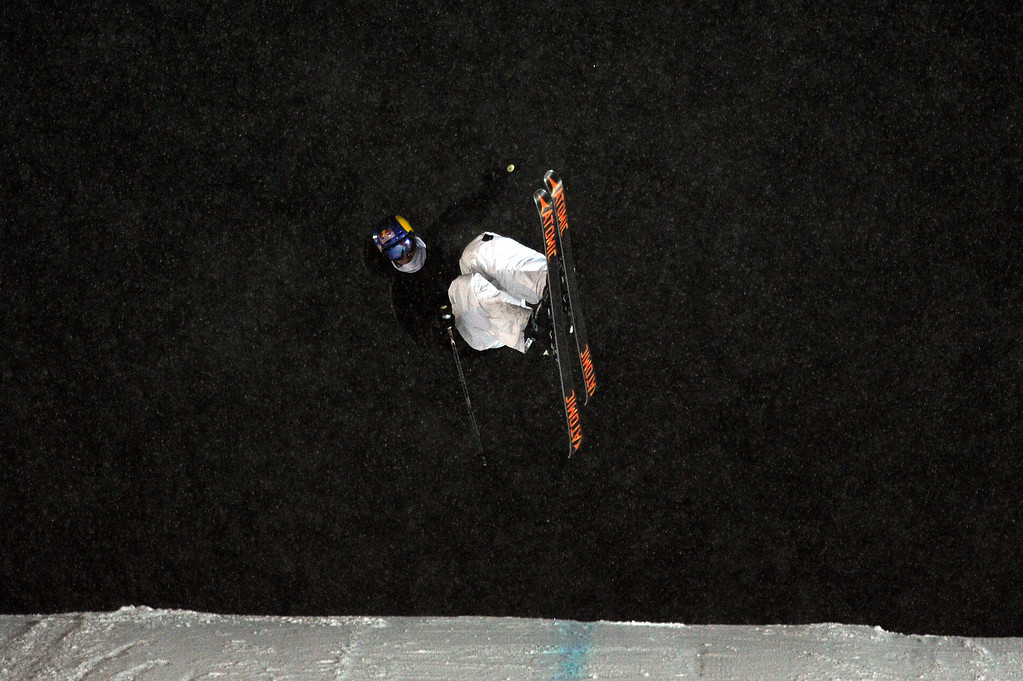 . ASPEN, CO - January 26: Elias Ambühl prepares to land after a trick during the men\'s Ski Big Air Final at Winter X Games Aspen 2013 at Buttermilk Mountain on Jan. 26, 2013, in Aspen, Colorado. Ambühl finished third overall. (Photo by Daniel Petty/The Denver Post)