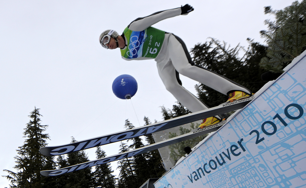 . Todd Lodwick of the US competes in the men\'s Nordic Combined team Ski Jumping trial at the Whistler Olympic Park during the Vancouver Winter Olympics on February 23, 2010. (JAVIER SORIANO/AFP/Getty Images)