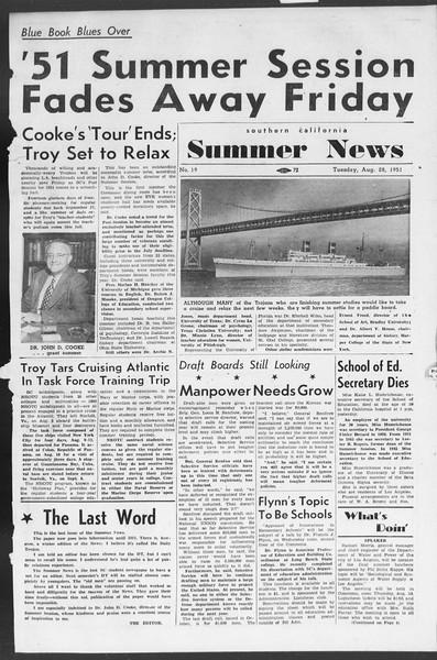 Summer News, Vol. 6, No. 19, August 28, 1951