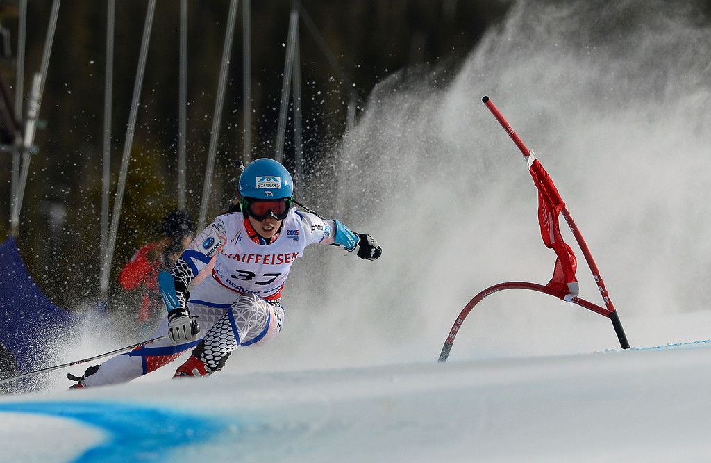. BEAVER CREEK, CO - FEBRUARY 12: Emi Hasegawa of Japan competes in the second run of the Ladies Giant Slalom event at the FIS Alpine World Ski Championships in Beaver Creek, CO. February 12, 2015. (Photo By Helen H. Richardson/The Denver Post)