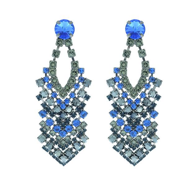 Zoe Earrings / Sapphire + Black Diamond