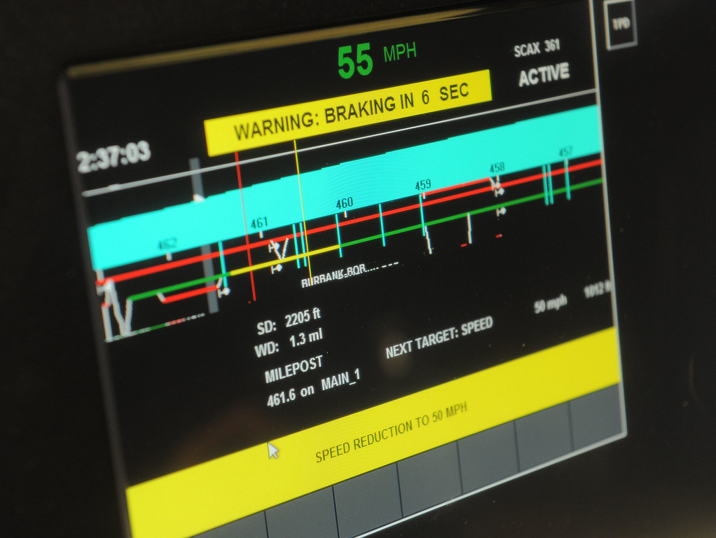 . Metrolink officials showed off their new Positive Transfer Control (PTC) during an event in Los Angeles, CA on Thursday, February 20, 2014. The computer and satellite devices will be installed in all Metrolink trains and should prevent accidents. This is the computer screen that the engineer will have in the locomotive that will display track speed, grade, upcoming markers and events. The operator will be sent warnings and if the warnings aren\'t heeded, the system will take over and stop the train. (Photo by Scott Varley, Daily Breeze)