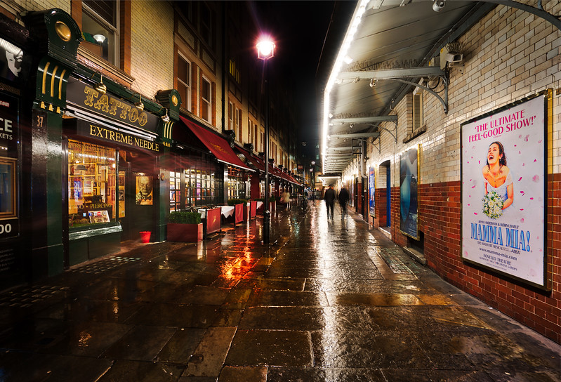 The Rainy Streets Of The London Theater District At Night