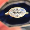 1.17ct Antique Moval Cut Diamond Bezel Ring, GIA E SI1 15