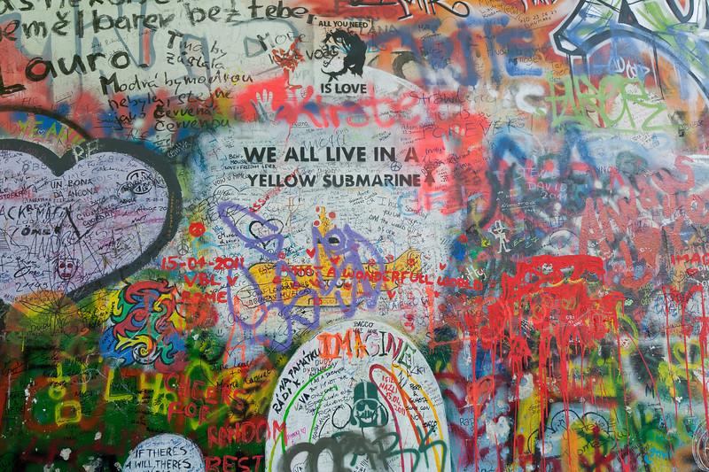 More graffiti in Lennon Wall, Prague - Czech Republic