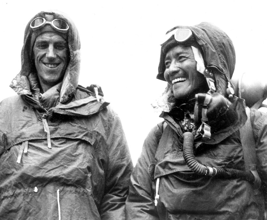 . Edmund P. Hillary, left, and Sardar Tenzing Norgay of Nepal show the kit they wore when conquering Mt. Everest  in 1953. May 29, 2013, marked the 60th anniversary of their conquest. Hillary, the unassuming bee keeper who conquered Mount Everest to died in 2008 at age 88, and Norgay died in 1986 at age 72. (AP Photo, File)
