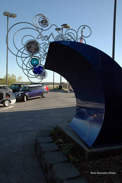 This sculpture welcomes all visitors to the Omaha MINI dealership.