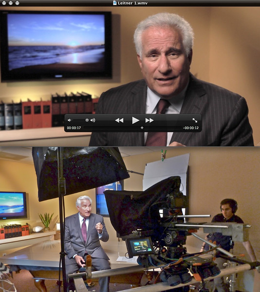 A recent DSLR shoot with the 60D and Ted Leitner on camera.  The shot below is the set up we used for the commercial.  We used the Dana Dolly and it worked well with a prompter.  The shot above is the way the image looked through the 60D.  Here's the 30 second spot:  https://www.youtube.com/watch?v=x1dL-nOJOjM   We did about 5 different variations of spots while we had Leitner for an hour.