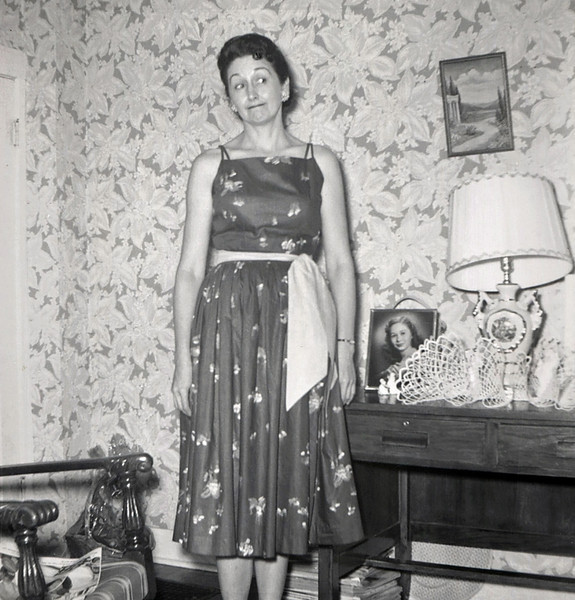Hazel (Doss) Davenport. Photo dated Aug. 59. Note photo of Norma on table.
