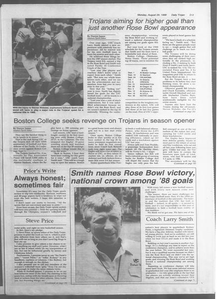 Daily Trojan, Vol. 107, No. 1, August 29, 1988