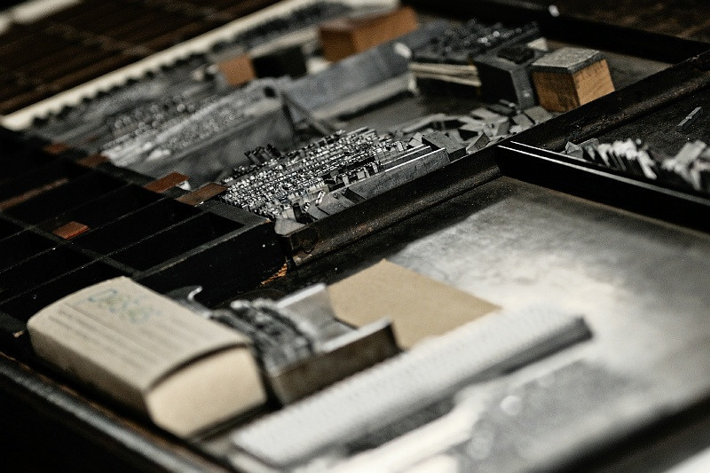 28 Nov: Type at our friend Bonnie's printing studio