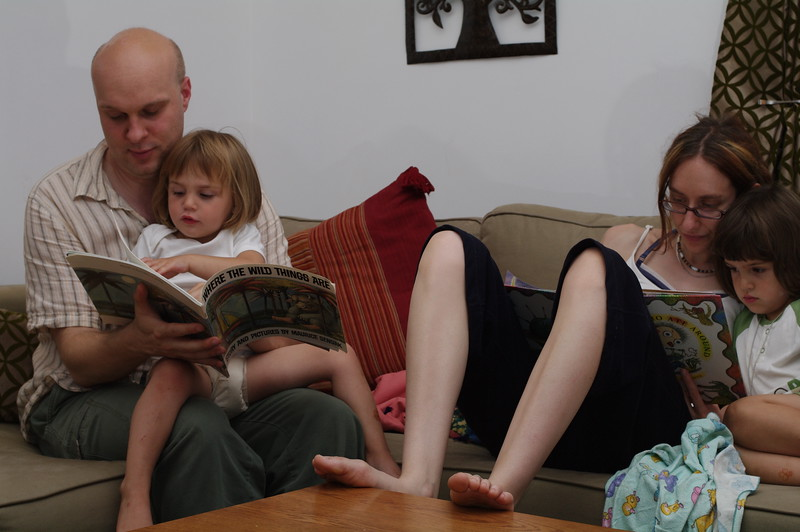 Jason and Karen (yes, another one!) read bedtime stories.