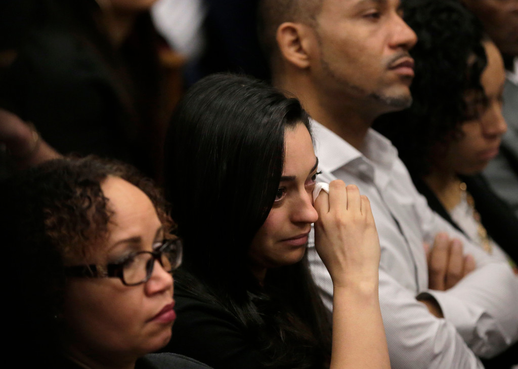 . Members of one of the victim\'s family are tearful during the double murder trial for former New England Patriots tight end Aaron Hernandez at Suffolk Superior Court, Thursday, April 6, 2017, in Boston. Hernandez is on trial for the July 2012 killings of Daniel de Abreu and Safiro Furtado who he encountered in a Boston nightclub. The former NFL player is already serving a life sentence in the 2013 killing of semi-professional football player Odin Lloyd. (AP Photo/Steven Senne, Pool)