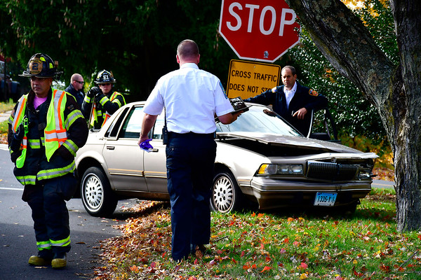 10/30/2018 MIke Orazzi   Staff The scene of a two-car crash at the intersection of East Road and Willis Street in Bristol Tuesday.