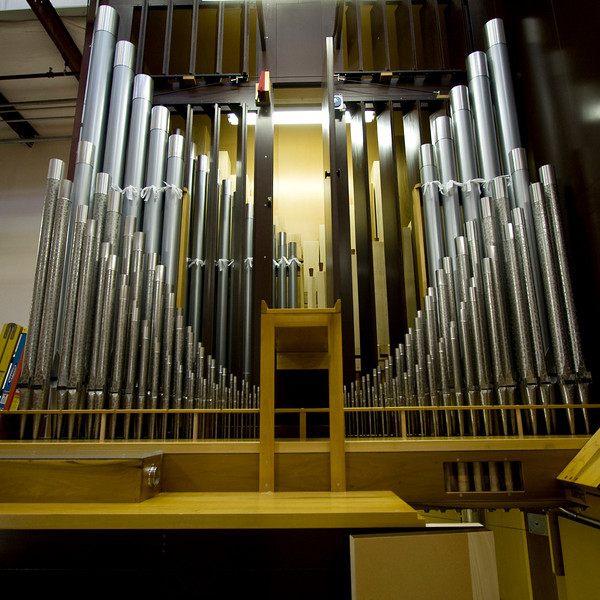 The main pipes for another organ getting ready for install.  This one goes to the Julliard School of Music.