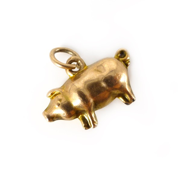 Antique Edwardian 9ct Gold Little Pig Charm