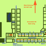 Floor plan showing allocations of some 20 rooms for the VYEA Summer School.