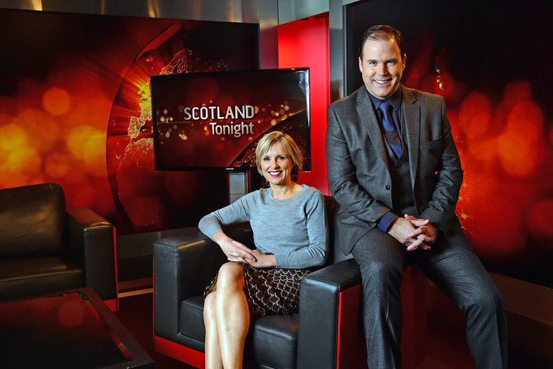 Pictured are presenters of STV's Scotland tonight show John MacKay and Rona Dougall. Pic by Paul Chappells 12/10/16