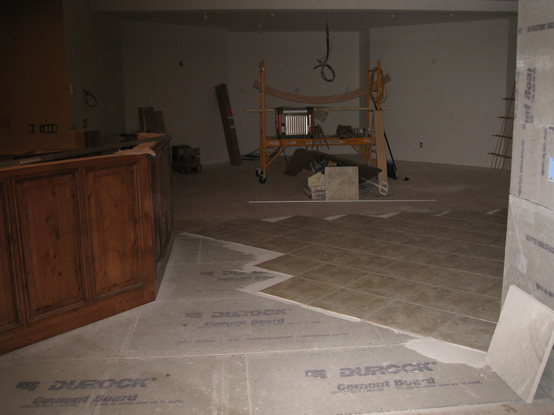 View from near entry door looking to end of room.  Far wall will have the wide screen for movies, TV, etc.