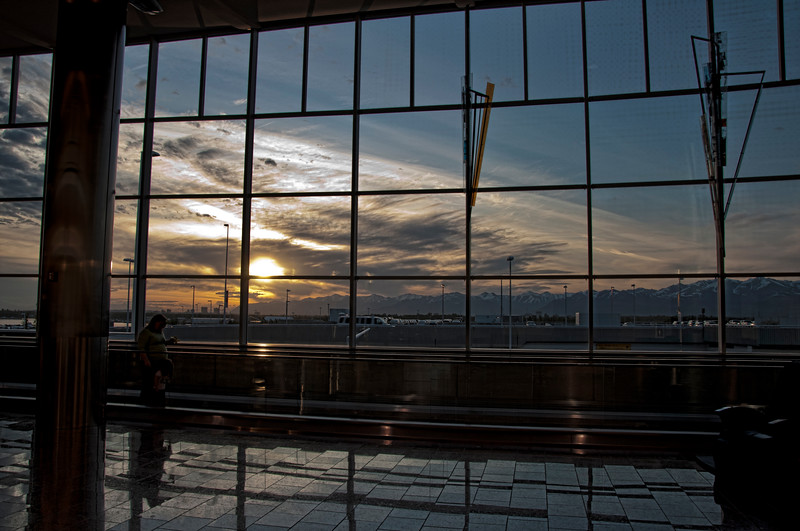 Anchorage airport at sunset.