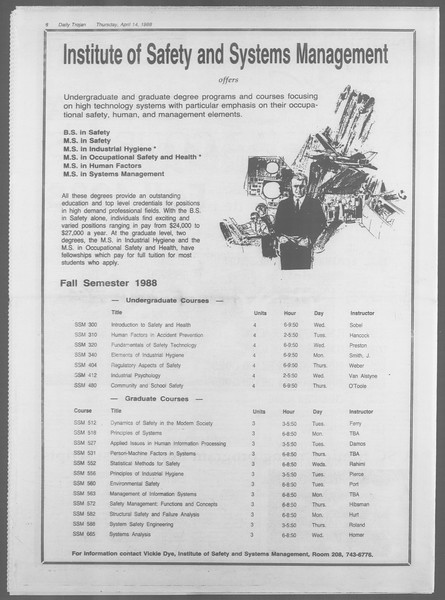 Daily Trojan, Vol. 106, No. 60, April 14, 1988