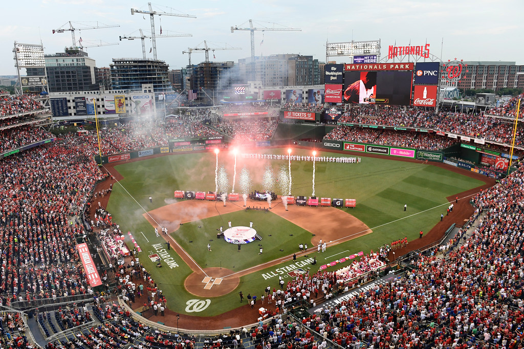 . Fireworks are displayed before the MLB Home Run Derby, at Nationals Park, Monday, July 16, 2018 in Washington. The 89th MLB baseball All-Star Game will be played Tuesday. (AP Photo/Susan Walsh)