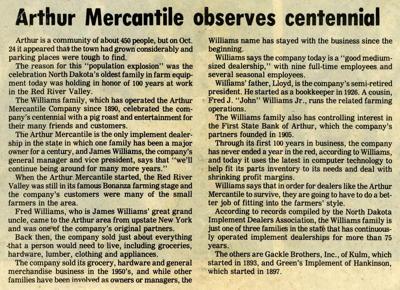 AR014.  Arthur Mercantile observes centennial – news clippin.jpg