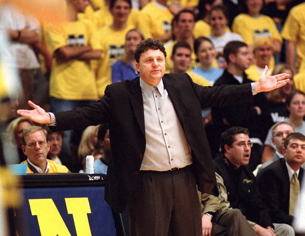 . File art from the Oakland University vs Michigan game 11-16-01.  Oakland\'s head basketball coach Greg Kampe.