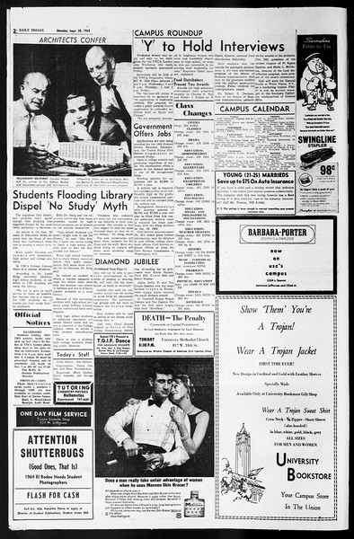Daily Trojan, Vol. 55, No. 6, September 30, 1963