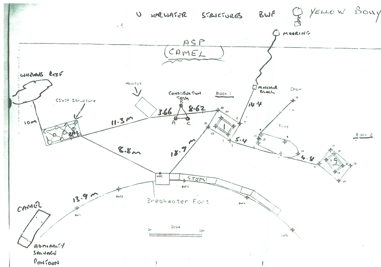 Map of the seabed around front of Fort.