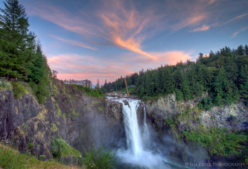 Snoqualmie Falls at twilight.