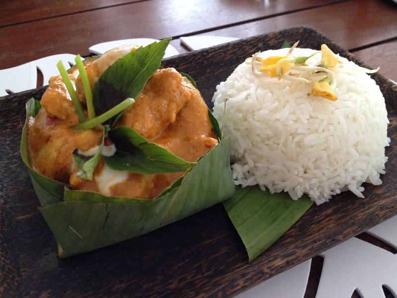 Fish Amok curry served in a banana leaf.