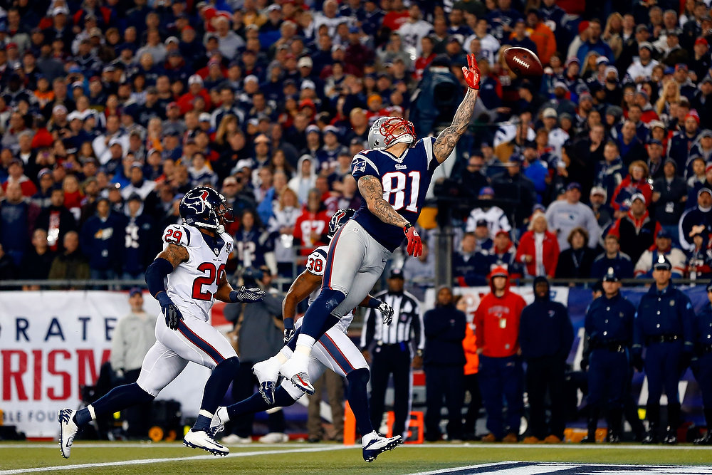Description of . Aaron Hernandez #81 of the New England Patriots fails to make a catch in the endzone against the Houston Texans during the 2013 AFC Divisional Playoffs game at Gillette Stadium on January 13, 2013 in Foxboro, Massachusetts.  (Photo by Jared Wickerham/Getty Images)
