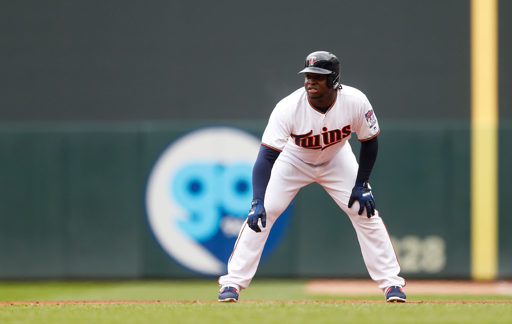 . Minnesota Twins\' Miguel Sano takes a lead at first base in the first inning of a baseball game against the Cleveland Indians Thursday, April 20, 2017, in Minneapolis. (AP Photo/Jim Mone)