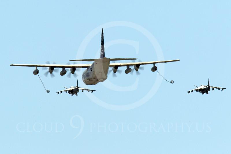 AAR 00124 A USMC Lockheed KC-130 Hercules and two USMC McDonnell Douglas AV-8B VSTOL jet attack aircraft prepare to aerial refuel airplane picture, by Peter J Mancus.JPG