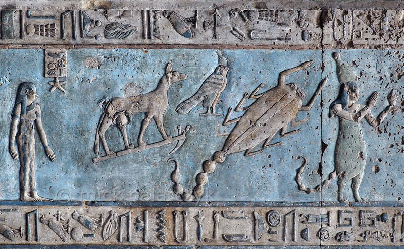 [EGYPT 29588] 'Scorpio on astronomical ceiling at Dendera.'  A giant scorpion with curved tail portrays the zodiac  sign Scorpio on the astronomical ceiling in the outer hypostyle hall of the Hathor Temple at Dendera. The ceiling consists of seven separate strips but here we are looking at a detail of the upper register of the WESTERNMOST STRIP. There are six zodiac signs depicted in the entire westernmost strip (see picture 29585 till 29590) and the other six can be found on the easternmost ceiling strip of the hall (see picture 29526). These signs are of Babylonic-Greek origin and are not found in Egypt before it was conquered by Alexander the Great in 332 BC. The falcon with an Upper Egyptian crown above Scorpio is a personification of the planet Mars. On the right, the human-headed deity with the lower body of a hippopotamus and the tail of a scorpion personifies a star or constellation south of the Ecliptic. North of the Ecliptic is the constellation made up of a jackal standing on a hoe. The astronomical location of both heavenly bodies is known from the famous round zodiac of Dendera which is kept in the Louvre. The standing goddess on the left who has a star in front of her head is a personification of the fifth hour of the night. This part of the Dendera Temple was built during the Roman period (first century AD). Photo Mick Palarczyk.