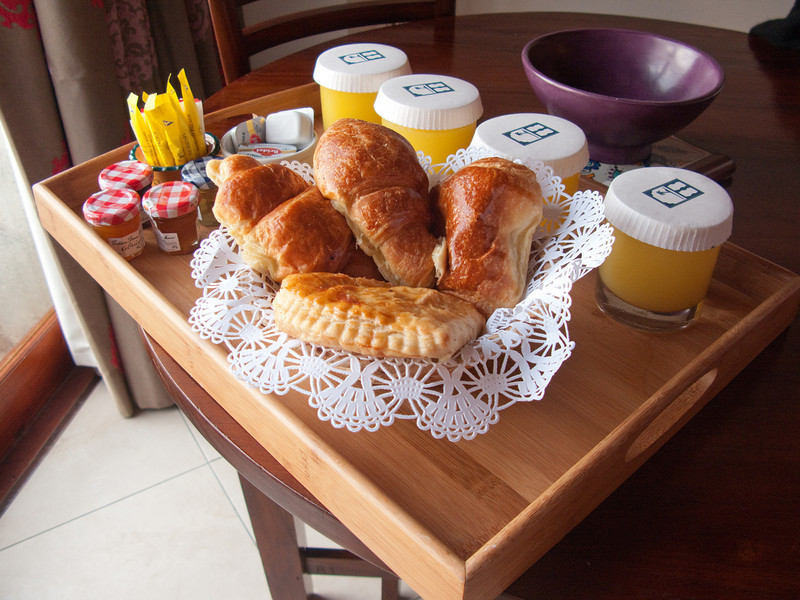 Breakfast every morning in our room at L'Esplanade.  God bless the French.