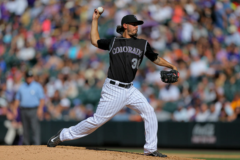 . Starting pitcher Christian Bergman #36 of the Colorado Rockies delivers to home plate during the sixth inning against the Miami Marlins at Coors Field on August 24, 2014 in Denver, Colorado. The Rockies defeated the Marlins 7-4. (Photo by Justin Edmonds/Getty Images)