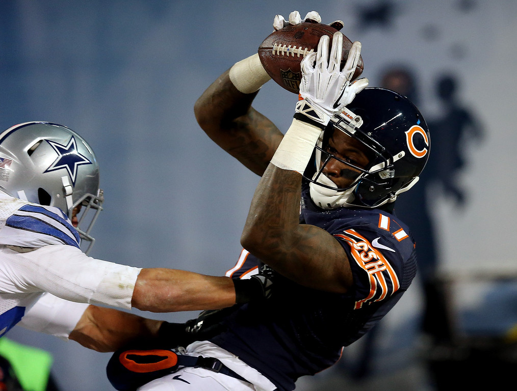 . Wide receiver Alshon Jeffery #17 of the Chicago Bears catches a touchdown at the end of the second quarter against the Dallas Cowboys during a game at Soldier Field on December 9, 2013 in Chicago, Illinois.  (Photo by Jonathan Daniel/Getty Images)