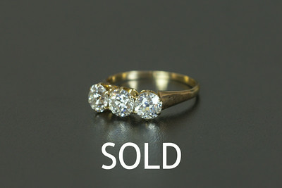 Old European Cut and 14K 3-Stone Engagement Ring 2+ ctw