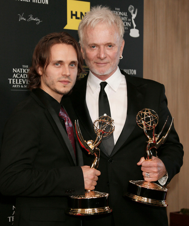 ". Jonathan Jackson, left, winner of the award for supporting actor in a drama series for ""General Hospital\"" and Anthony Geary, winner of the award for lead actor in a drama series for \""General Hospital,\"" pose backstage at 39th Annual Daytime Emmy Awards at the Beverly Hilton Hotel on Saturday, June 23, 2012 in Beverly Hills, Calif. (Photo by Todd Williamson/Invision/AP)"