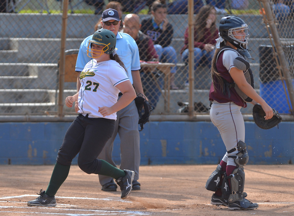 . 0517_SPT_TDB-L-MC-TORRANCE--- Torrance, CA--5/16/13--- Staff Photo: Robert Casillas  - Daily Breeze / LANG--- Mira Costa defeated Torrance High 7-1 in CIF DIV III softball playoff game at Wilson Park in Torrance. Samantha Matson scores.