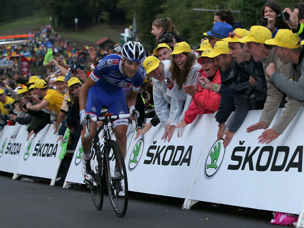 . Thibaut Pinot of France and FDJ.fr makes the climb to the finish as he took second place in stage ten of the 2014 Le Tour de France from Mulhouse to La Planche des Belles Filles on July 14, 2014 in La Planche des Belles Filles, France.  (Photo by Doug Pensinger/Getty Images)