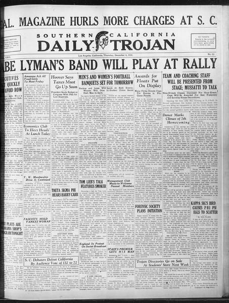 Daily Trojan, Vol. 22, No. 56, December 04, 1930