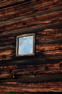 Window in a log cabin