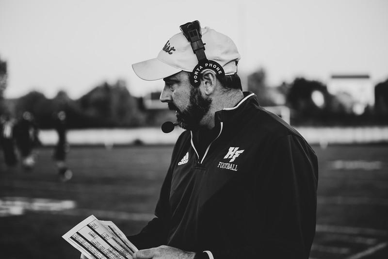 Holy Family Varsity Football vs. Mound Westonka, 8/29/19: Coach Tim Triplett
