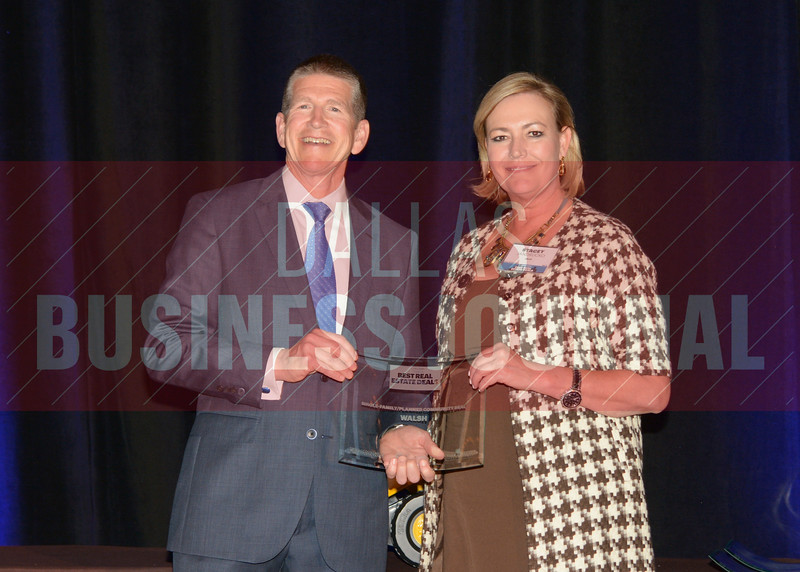 Stacey Jandrucko was presented the best Single-Family/Planned Community award for Walsh Ranch from Bret Robertson of presenting sponsor CF Accountants & Consultants.